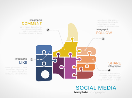 Social Media infographic template with thumb up like made out of puzzle pieces Ilustração