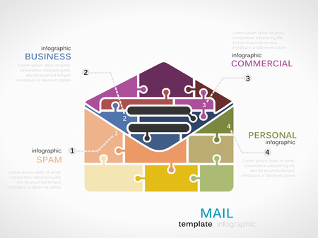 Mail infographic template with mail envelope made out of puzzle pieces Vector