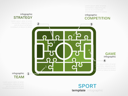 Sport concept infographic template with soccer field made out of puzzle pieces Vector