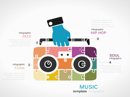 funk: Music concept infographic template with cassette player made out of puzzle pieces