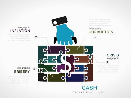 bestechung: Cash-Konzept Infografik Vorlage mit Geld Fall aus Puzzleteilen