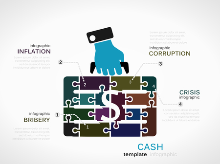 Cash concept infographic template with money case made out of puzzle pieces