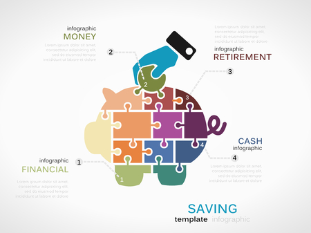 retirement savings: Saving concept infographic template with piggy bank made out of puzzle pieces