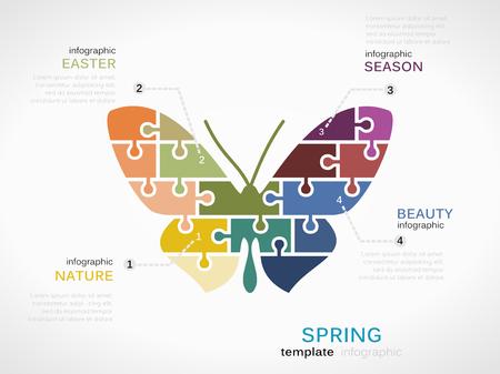 spring out: Concepto de primavera plantilla infograf�a con la mariposa de las piezas del rompecabezas