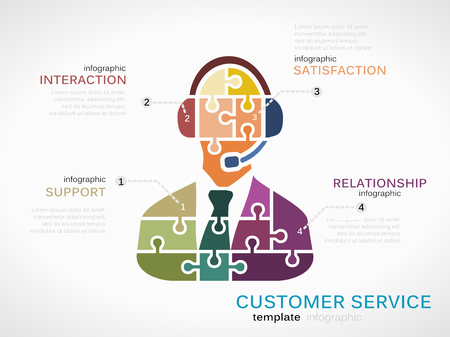 customer service representative: Customer service concept infographic template with representative made out of puzzle pieces