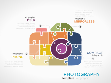 dslr: Photography concept infographic template with camera made out of puzzle pieces Illustration