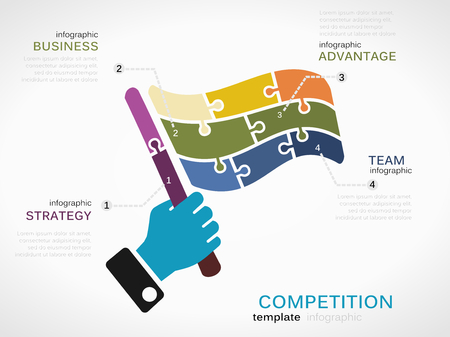 advantages: Competition concept infographic template with race flag made out of puzzle pieces Illustration