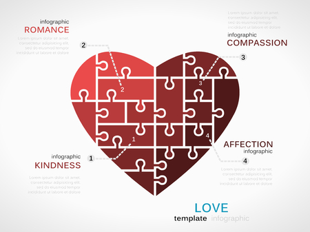 Love concept infographic template with heart made out of puzzle pieces