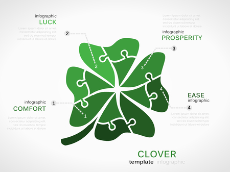 at ease: Luck concept infographic template with clover made out of puzzle pieces