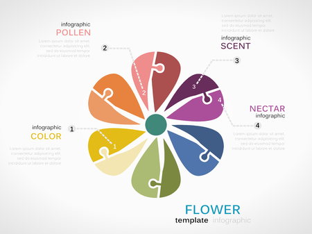 nectars: Nature concept infographic template with flower made out of puzzle pieces