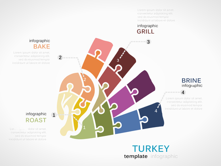 roasted turkey: Food concept infographic template with turkey made out of puzzle pieces Illustration