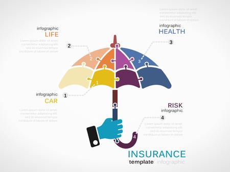 icone sanit�: Concetto di assicurazione modello di infografica con ombrello fatto di pezzi di puzzle
