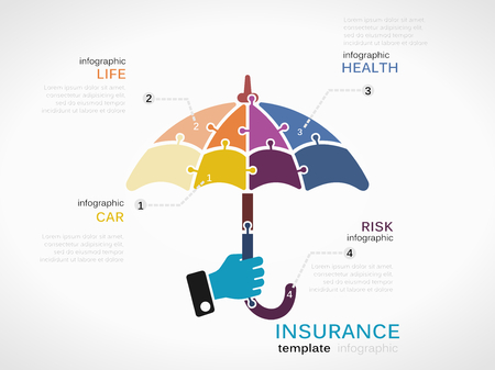 protection concept: Insurance concept infographic template with umbrella made out of puzzle pieces