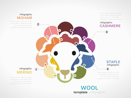 mohair: Wool concept infographic template with sheep made out of puzzle pieces