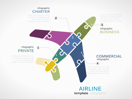 charter: Airline concept infographic template with plane made out of puzzle pieces