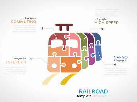 high speed railway: Railroad concept infographic template with train made out of puzzle pieces