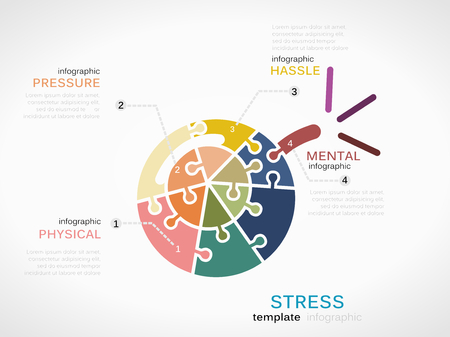 hassle: Stress concept infographic template with bomb made out of puzzle pieces