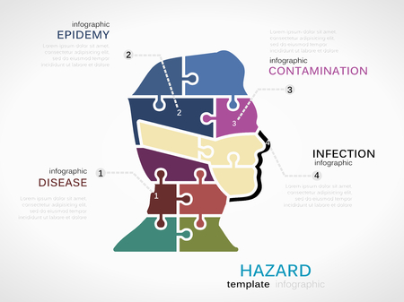 biochemical: Hazard concept infographic template with masked silhouette made out of puzzle pieces Illustration