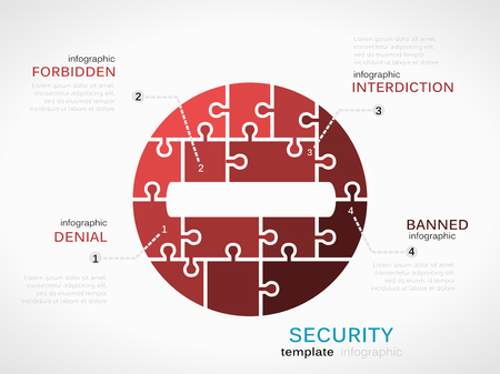 interdiction: Security concept infographic template with interdiction sign made out of puzzle pieces Illustration