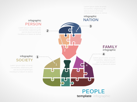 People concept infographic template with silhouette made out of puzzle pieces Vector