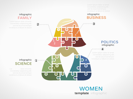 implication: Women concept infographic template with silhouette made out of puzzle pieces Illustration