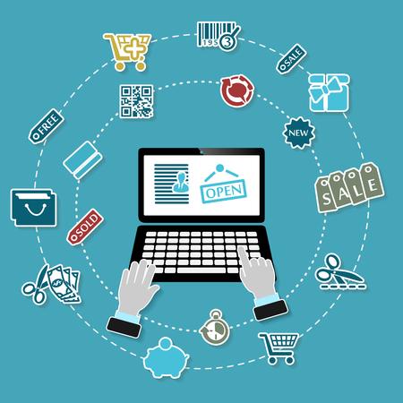 freelancer: Shopping illustration with working laptop and icons on blue background Illustration