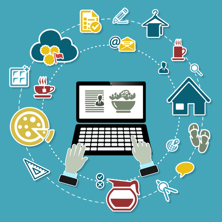 Work from home concept illustration with working laptop and icons on blue background Vektoros illusztráció