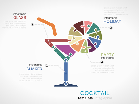 shakers: Cocktail concept infographic template with glass made out of puzzle pieces