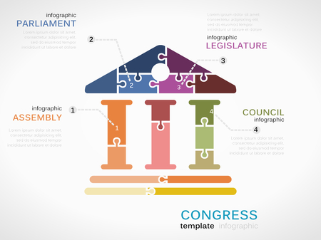 Vector congress infographics illustration made out of puzzle pieces Illustration
