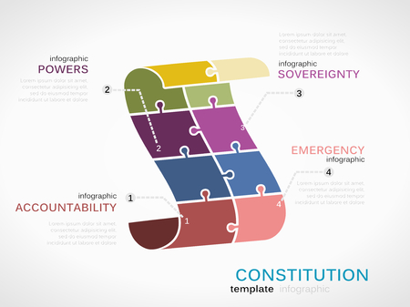 constitution: Vector constitution infographics illustration made out of puzzle pieces Illustration