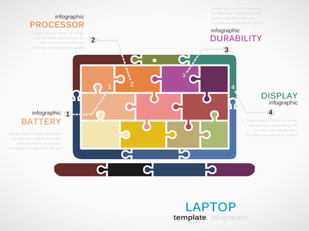 Gadget template inforgraphic with laptop made out of puzzle pieces Vector