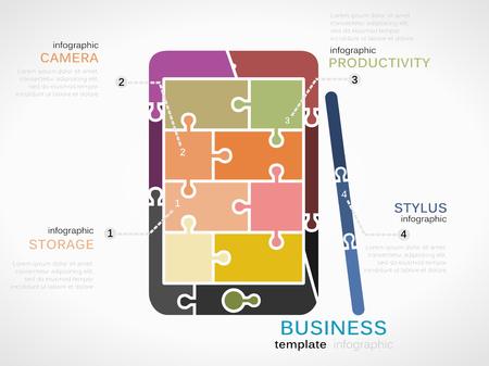 Gadget template inforgraphic with phablet made out of puzzle pieces Vector