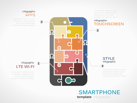 inforgraphic: Gadget template inforgraphic with smartphone made out of puzzle pieces