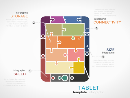 Gadget template inforgraphic with tablet made out of puzzle pieces Vector