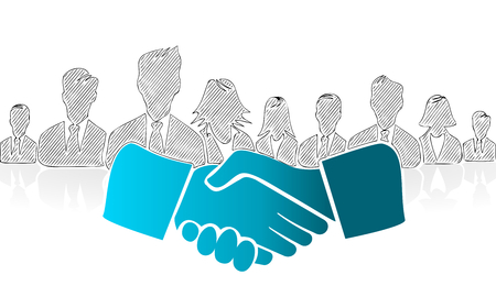 Hand drawn shake hands. Concept vector illustration symbol
