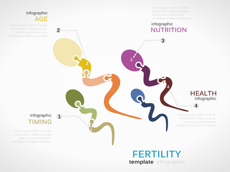 Fertility concept infographic template with sperm made out of puzzle pieces