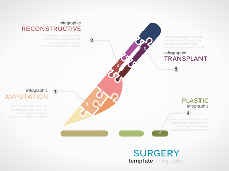 Surgery concept infographic template with scalpel made out of puzzle pieces