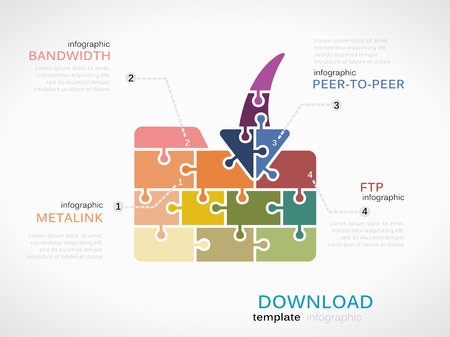 ftp: Download concept infographic template with folder icon made out of puzzle pieces