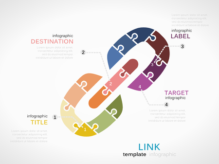 hyperlink: Link concept infographic template with hyperlink icon made out of puzzle pieces