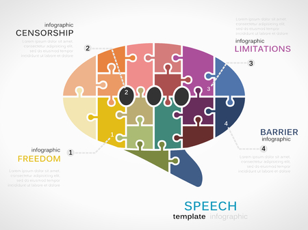 barrier free: Speech concept infographic template with bubble made out of puzzle pieces