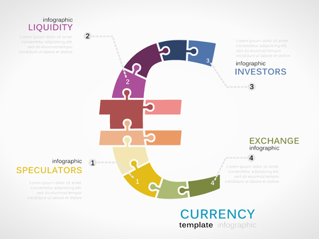 liquidity: Infographic template with Euro currency symbol made out of puzzle pieces