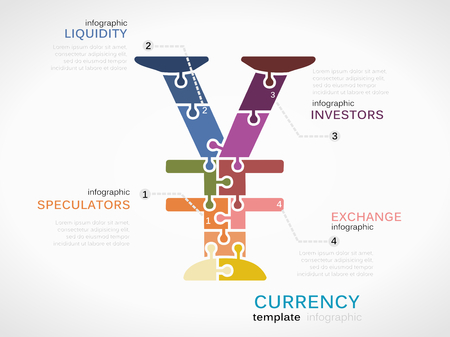 liquidity: Infographic template with Yen currency symbol made out of puzzle pieces Illustration