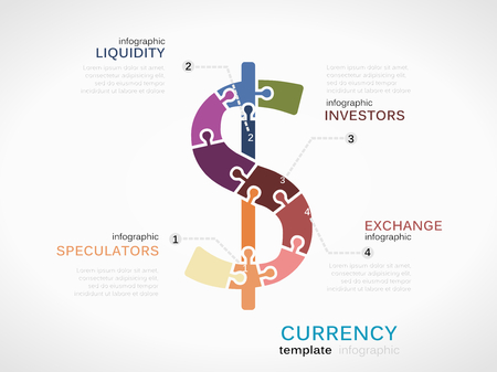 liquidity: Infographic template with Dollar currency symbol made out of puzzle pieces Illustration
