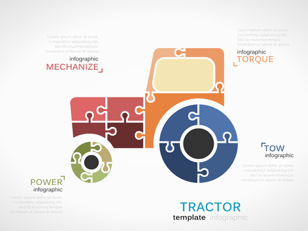 tow tractor: Transportation concept infographic template with tractor made out of puzzle pieces