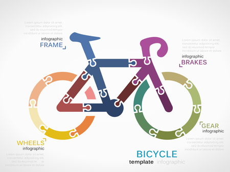 Transportation concept infographic template with bicycle made out of puzzle pieces Illustration