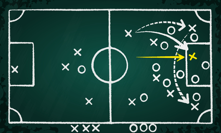 game plan: Soccer strategy game plan hand drawn on chalkboard