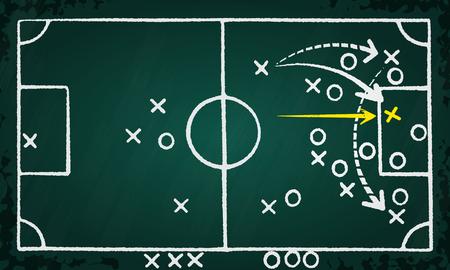 Voetbal strategie game plan de hand getekend op bord Stock Illustratie