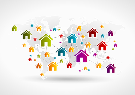 real world: World wide house concept network . Vector illustration Illustration