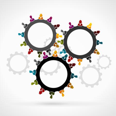 sinergia: Concepto de sinergia. Engranaje hecha de gente de negocios siluetas Vectores