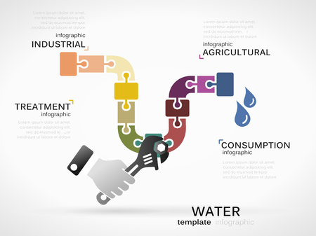 pipe wrench: Water concept illustration . Consumption and water pollution infographic